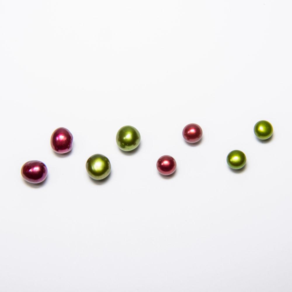 Ohrstecker, Bouton- und Flatperlen, koloriert, 6-8mm