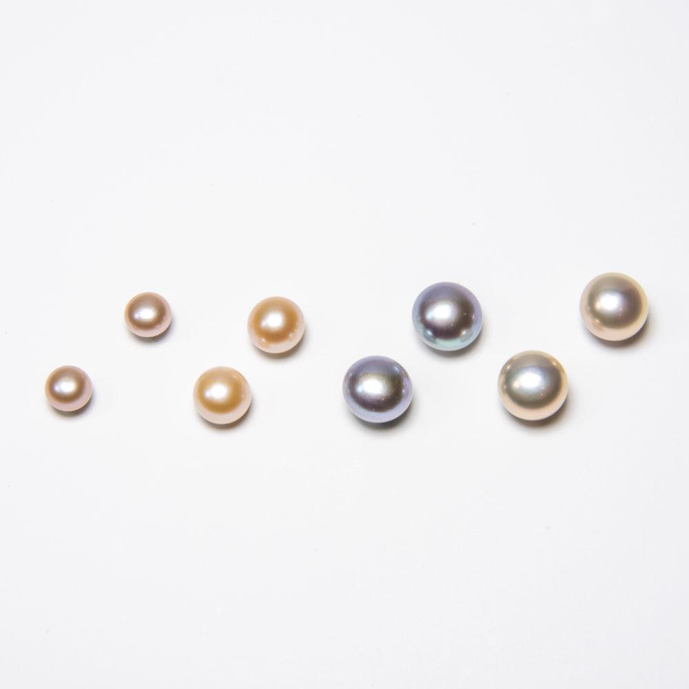Ohrstecker, Bouton- und Flatperlen, verschiedene Farben, 6 - 10mm