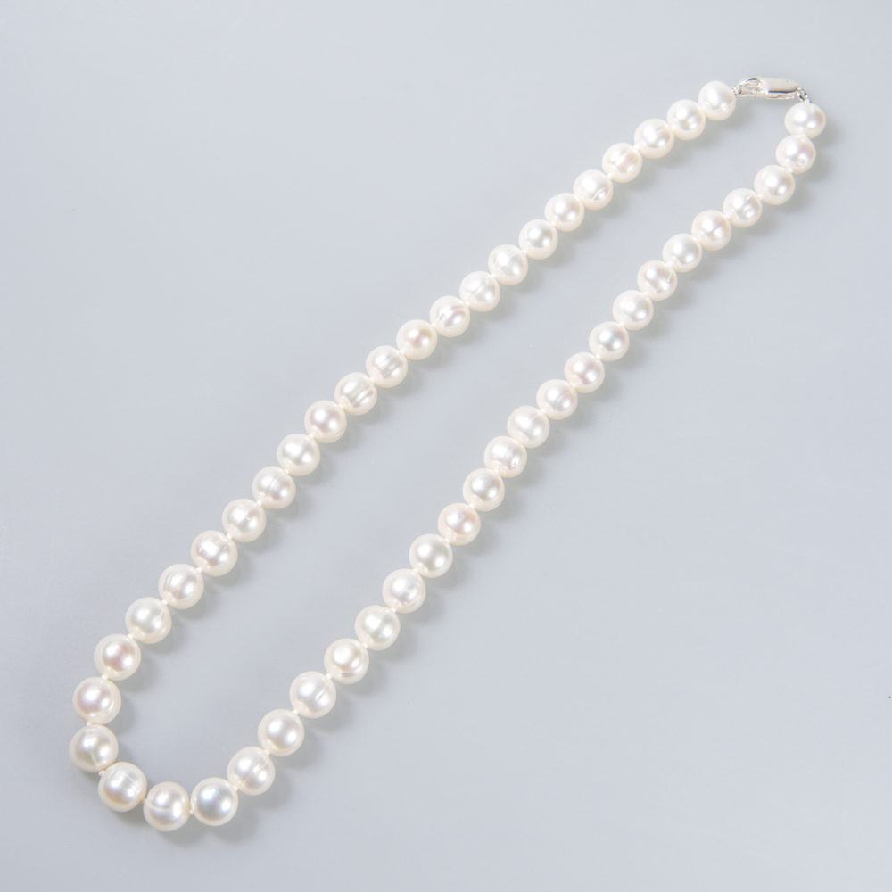 Perlenkette 9-10mm, weiß, geknotet, Silberschließe