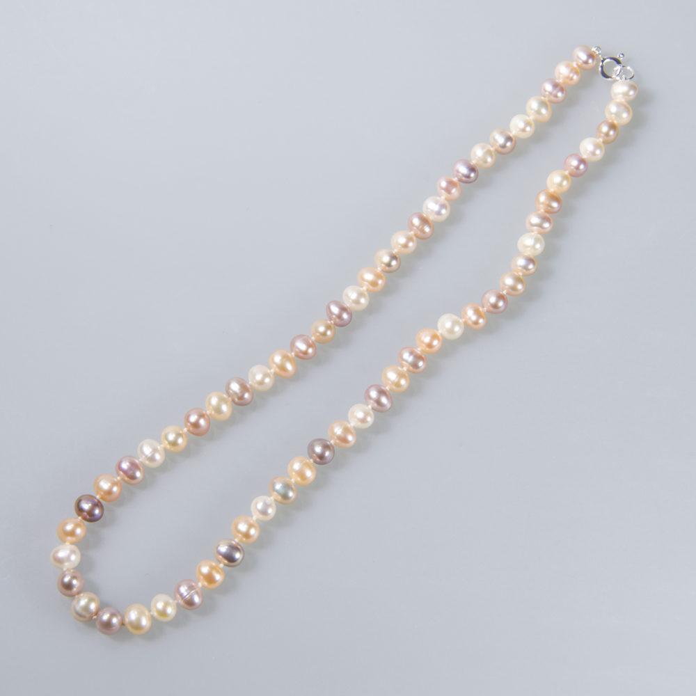 Perlenkette 7-8 mm, naturfarben, lachs, purple, weiß, geknotet, verschiedene Längen